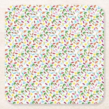 Beach Pattern Square Paper Coaster