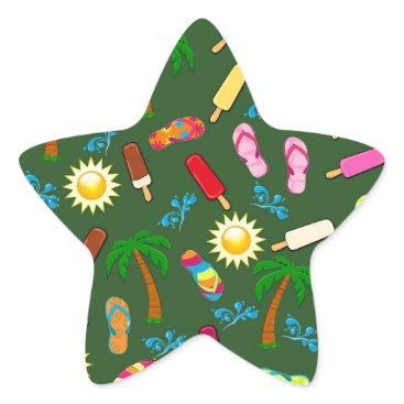Beach Themed Beach Pattern Star Sticker