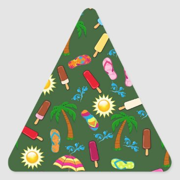 Beach Themed Beach Pattern Triangle Sticker