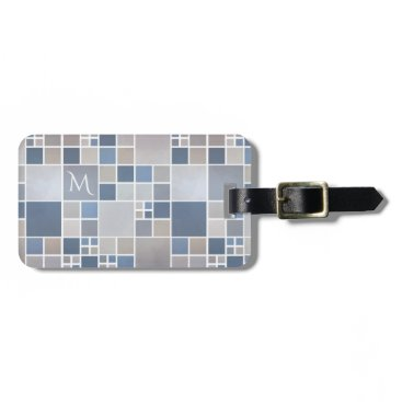 Beach Themed Beach Pattern Watercolor Monogram Luggage Tag
