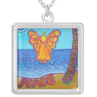 Beach Peace Angel Art Custom Pendant Necklace