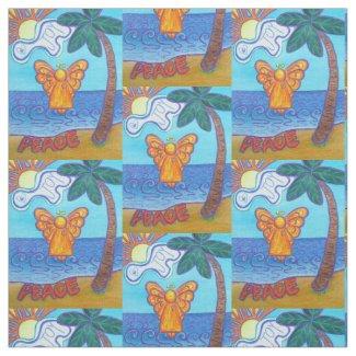 Beach Peace Guardian Angel Art Fabric Material