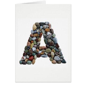 Beach Themed Beach Pebble Letter A Card