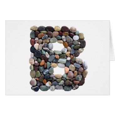 Beach Themed Beach Pebble Letter B Card