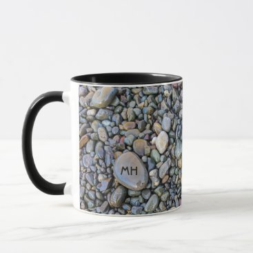 Beach Themed Beach Pebbles custom monogram mugs