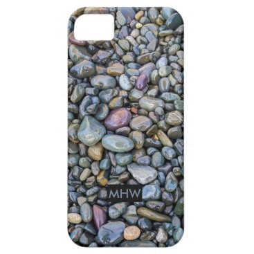 Beach Themed Beach Pebbles custom monogram phone cases