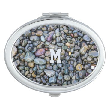 Beach Themed Beach Pebbles custom monogram pocket mirrors