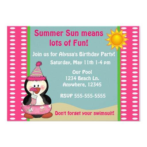 Beach Penguin Pink Girls Birthday Invitation