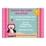 Beach Penguin Pink Girls Birthday Invitation