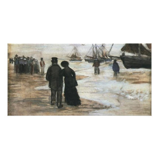 Beach, People Walking & Boats Van Gogh Fine Art Card