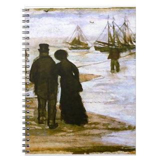 Beach People Walking & Boats Van Gogh Fine Art Spiral Notebook