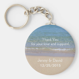 Beach Personalized Key Ring Wedding Favor Basic Round Button Keychain