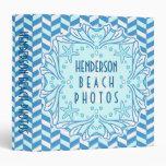 Beach Photo Album Art Deco Shell and Herringbone 3 Ring Binder