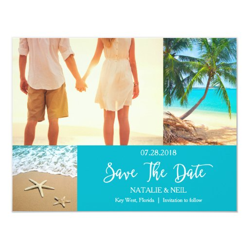 Beach Photo Collage Save the Date Card