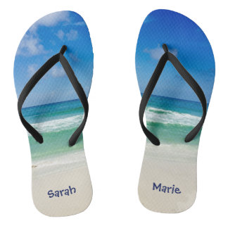 Beach Photography Blue Skies With Waves Flip Flops