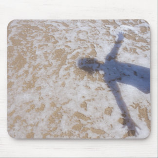 Beach Photography Sea foam and girl s shadow Mouse Pads