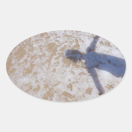 Beach Photography Sea foam and girl's shadow Oval Sticker