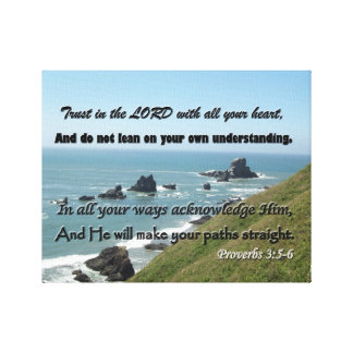 Beach Picture with Scripture from Proverbs 3:5-6 Canvas Print