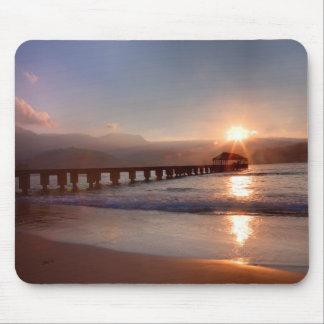 Beach pier at sunset, Hawaii Mouse Pad