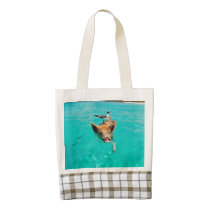 Beach pig - water pig zazzle HEART tote bag