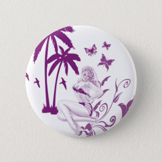 Beach Pin-Up Pinback Button