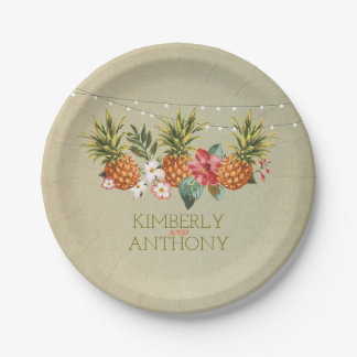 beach pineapple tropical wedding paper plate
