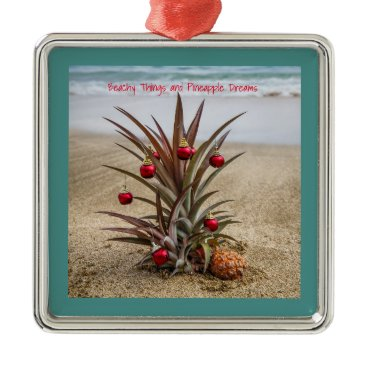 Beach Themed Beach Pineapple With Red Christmas Ornament