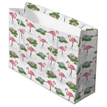 beach Pink Flamingo pattern party gift bag