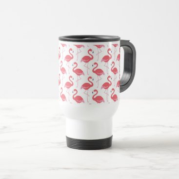 Beach Themed Beach pink Flamingo pattern travel mug