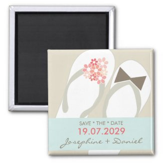 Beach Pink Flip Flops Custom Save The Date Magnet magnet