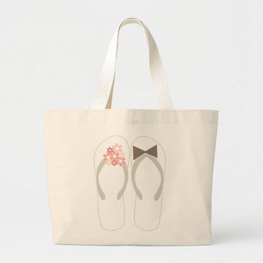 Beach Pink Flip Flops Custom Wedding Gift Bag