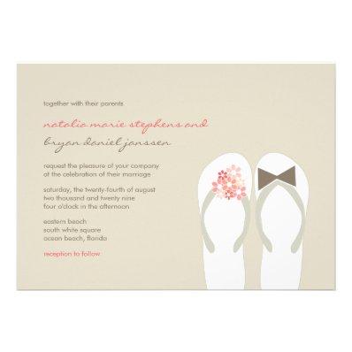 Beach Pink Flip Flops Summer Chic Wedding Invite Personalized Invitations