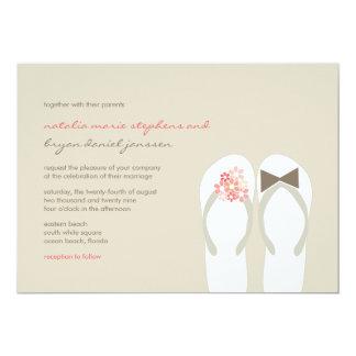 """Beach Pink Flip Flops Summer Chic Wedding Invite 5"""" X 7"""" Invitation Card"""