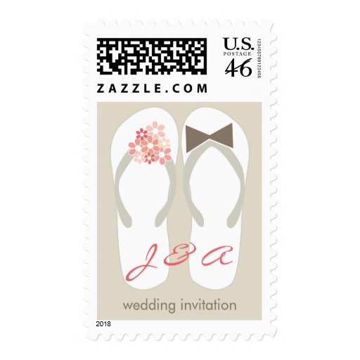 Beach Pink Flip Flops Wedding Invitation Stamps