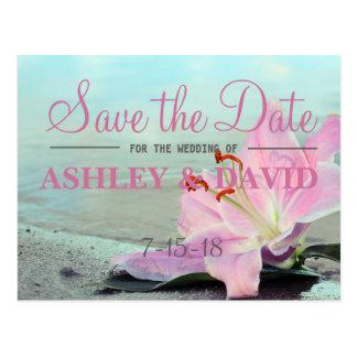 Beach Pink Flower Save The Date Postcard