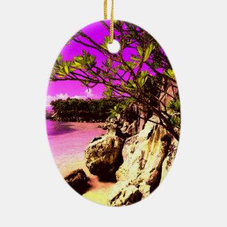 Beach pink one ceramic ornament