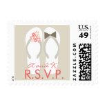 Beach Pink Tropical Wedding Flip Flops RSVP Stamps
