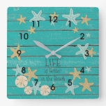 Beach Planks and Starfish Square Wall Clock