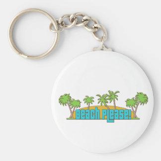 Beach Please! Basic Round Button Keychain