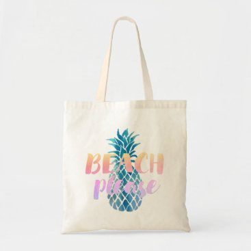 Beach Themed beach please calligraphy on blue pineapple tote bag