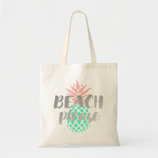 beach please calligraphy on pink teal pineapple tote bag