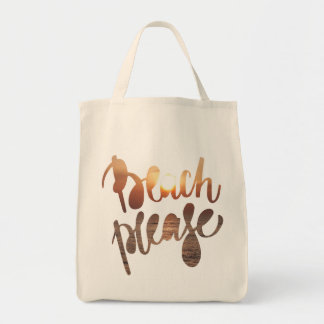 BEACH PLEASE - Fun Quote - Grocery Tote