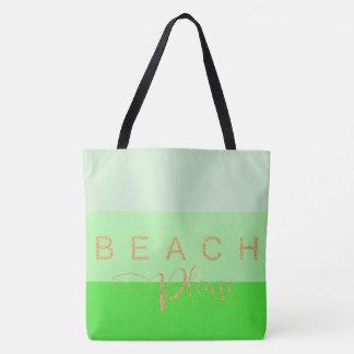 Beach Please Gold Glitter Green Stripes Tote Bag