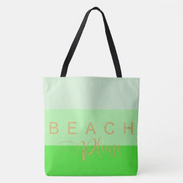 Beach Themed Beach Please Gold Glitter Green Stripes Tote Bag