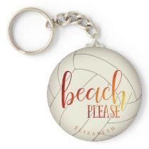 beach please personalized girls' volleyball keychain