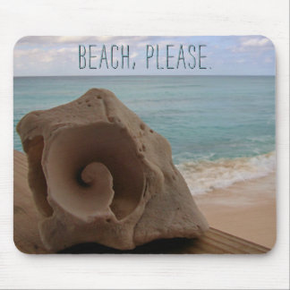 Beach Please | Seashell Summer Tropical Vacation Mouse Pad