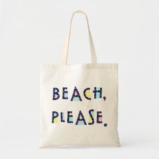 Beach Please Summer Whimsical Typography Cute Tote Bag