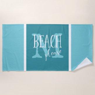 Beach please teal white stripes monogrammed beach towel