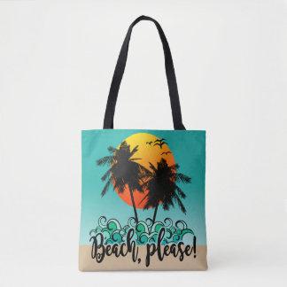 Beach Please Tropical Sunset Summer Fun Tote Bag
