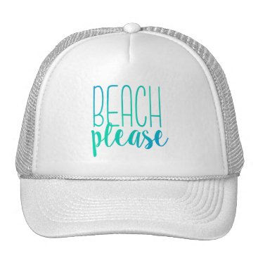 NotableNovelties Beach Please | Turquoise Ombre Trucker Hat